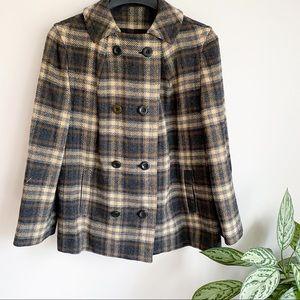 Vintage Pendleton Plaid Button Up Wool Pea Coat